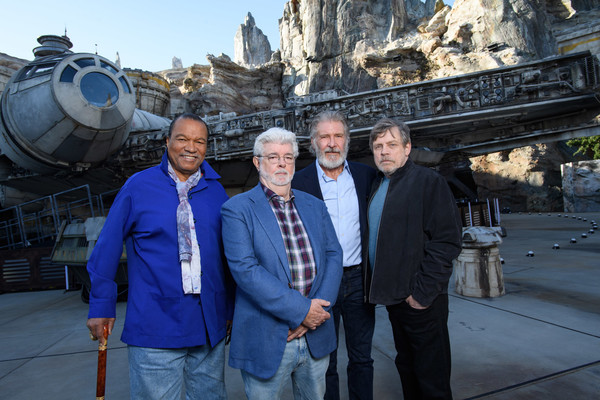 Bob Iger And George Lucas Visit Disneyland [handout photo,tourism,travel,vacation,architecture,temple,team,leisure,world,metal,george lucas,bob iger,harrison ford,billy dee williams,l-r,disneyland,disneyland resort,star wars: galaxys edge,visit]