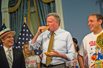 George Shea NYC Mayor De Blasio Hosts Nathan's Hot Dog Eating Contest Weigh In Ceremony