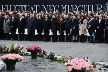 Gerard Larcher Parisians and Politicians Gather in Place De La Republique to Pay Tribute to 2015 Terrorist Attack Victims