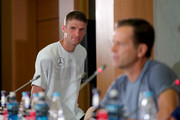 Thomas Mueller of Germany arrives for a press conference after a Germany training session during the 2018 FIFA World Cup at Park Arena Training Ground on June 20, 2018 in Sochi, Russia.