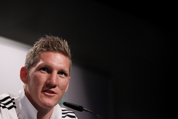 Bastian Schweinsteiger Bastian Schweinsteiger of Germany speaks to the media during a press conference in the media center at Velmore Grande Hotel on June 30, 2010 in Pretoria, South Africa.