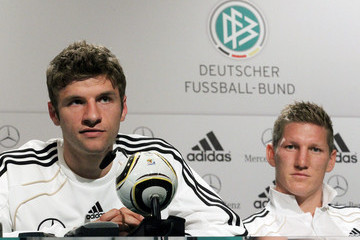 Bastian Schweinsteiger Thomas Mueller Germany Training And Press Conference