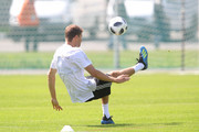 Thomas Mueller plays the ball during the Germany training session ahead of the 2018 FIFA World Cup at CSKA Sports Base on June 13, 2018 in Moscow, Russia.