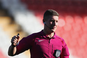 Referee Robert Jones looks on during the Under 20s Four Nations Tournament match between Germany and the United States at Leigh Sports Village Stadium on October 5, 2016 in Leigh, Greater Manchester.