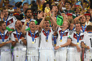 Miroslav Klose  of Germany lifts the World Cup trophy with teammates after defeating Argentina 1-0 in extra time during the 2014 FIFA World Cup Brazil Final match between Germany and Argentina at Maracana on July 13, 2014 in Rio de Janeiro, Brazil.