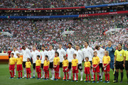 The Germany team pose for a team line up for national anthem prior to the 2018 FIFA World Cup Russia group F match between Germany and Mexico at Luzhniki Stadium on June 17, 2018 in Moscow, Russia.