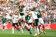 Hector Moreno of Mexico wins a header ovre Mats Hummels  of Germany  during the 2018 FIFA World Cup Russia group F match between Germany and Mexico at Luzhniki Stadium on June 17, 2018 in Moscow, Russia.
