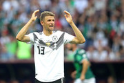 Thomas Mueller of Germany shows appreciation to the fans following his sides defeat in the 2018 FIFA World Cup Russia group F match between Germany and Mexico at Luzhniki Stadium on June 17, 2018 in Moscow, Russia.
