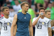 Manuel Neuer of Germany shows his dejection following the 2018 FIFA World Cup Russia group F match between Germany and Mexico at Luzhniki Stadium on June 17, 2018 in Moscow, Russia.