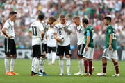 Julian Draxler, Mesut Oezil, Thomas Mueller, Toni Kroos and Joshua Kimmich  look on during the 2018 FIFA World Cup Russia group F match between Germany and Mexico at Luzhniki Stadium on June 17, 2018 in Moscow, Russia.