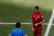 Referee Milorad Mazic speaks with Cristiano Ronaldo of Portugal during the 2014 FIFA World Cup Brazil Group G match between Germany and Portugal at Arena Fonte Nova on June 16, 2014 in Salvador, Brazil.
