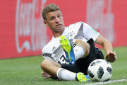 Thomas Mueller of Germany battels for the ball during the 2018 FIFA World Cup Russia group F match between Germany and Mexico at Luzhniki Stadium on June 17, 2018 in Moscow, Russia.