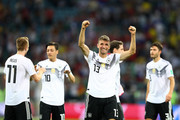 Thomas Mueller of Germany celebrates victory following the 2018 FIFA World Cup Russia group F match between Germany and Sweden at Fisht Stadium on June 23, 2018 in Sochi, Russia.