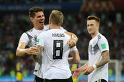 Mario Gomez of Germany celebrates victory with teammate Toni Kroos during the 2018 FIFA World Cup Russia group F match between Germany and Sweden at Fisht Stadium on June 23, 2018 in Sochi, Russia.