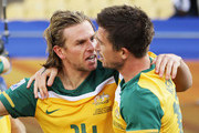 Brett Holman of Australia celebrates scoring the opening goal with Harry Kewell during the 2010 FIFA World Cup South Africa Group D match between Ghana and Australia at the Royal Bafokeng Stadium on June 19, 2010 in Rustenburg, South Africa.