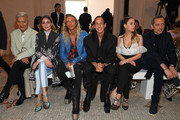 (EDITORIAL USE ONLY) (L-R) BryanBoy, Olivia Palermo, a guest, Rick Owens, Ashley Benson and Gad Elmaleh attend the Giambattista Valli show as part of the Paris Fashion Week Womenswear Fall/Winter 2020/2021 on March 02, 2020 in Paris, France.