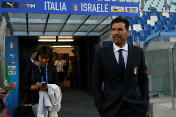 Gianluigi Buffon Italy Press Conference and Pitch Inspection