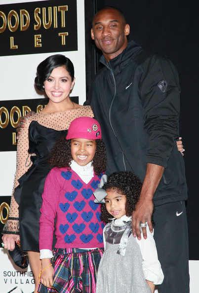 Family photo of the basketball player, married to Vanessa Bryant, famous for Los Angeles Lakers Star.