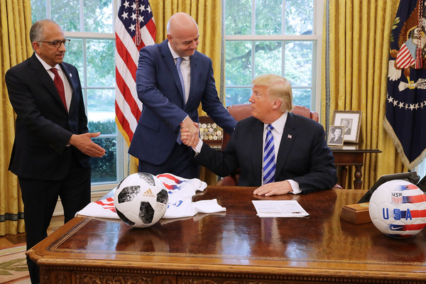 President Trump Meets With FIFA President Gianni Infantino At White House [official,event,world,soccer ball,news conference,gianni infantino,trump meets with fifa,donald trump,carlos cordeiro,president,hands,c,white house,u.s.,fifa]