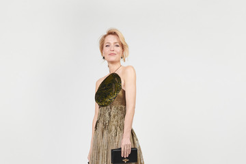 Gillian Anderson Celebrities Get Ready For The 2021 Golden Globe Awards