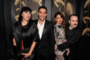 """(2nd L to R) Miguel Angel Silvestre, Blanca Suarez, and Carlos Areces attend Girard-Perregaux And The Cinema Society With DeLeon Host a Screening Of Sony Pictures Classics' """"I'm So Excited""""  after-party at No. 8 on June 6, 2013 in New York City."""