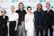 "(L-R) Elizabeth Cantillon, Sylvia Hoeks, Sverrir Gudnason, Claire Foy, Fede Alvarez and Synnove Macody Lund attend ""The Girl In The Spider's Web"" photocall during the 13th Rome Film Fest at Auditorium Parco Della Musica on October 24, 2018 in Rome, Italy."