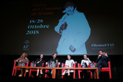 "(2ndL-R) Synnove Macody Lund, Sverrir Gudnason, Claire Foy, Sylvia Hoeks and Fede Alvarez attend the ""The Girl In The Spider's Web"" press conference during the 13th Rome Film Fest at Auditorium Parco Della Musica on October 24, 2018 in Rome, Italy."