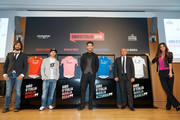 The bike trial champion Vittorio Brumotti (L), biker Marco Melandri, cyclist Giacomo Nizzolo, former World Road Racing Champion Paolo Bettini and the showgirl Giorgia Palmas attend the Giro D'Italia 2016 jersey unveiling on at Sala Buzzati on January 28, 2016 in Milano, Italy.