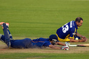 Essex batsman Ravi Bopara makes his ground despite the attempts of Dean Cosker to run him out during the NatWest T20 Blast match between Glamorgan and Essex at SWALEC Stadium on May 22, 2015 in Cardiff, Wales.