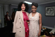 Tracee Ellis Ross and Chimamanda Ngozi Adichie pose backstage at Glamour's 2017 Women of The Year Awards at Kings Theatre on November 13, 2017 in Brooklyn, New York.