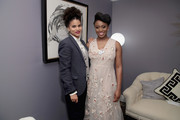 Zazie Beetz and Chimamanda Ngozi Adichie pose backstage at Glamour's 2017 Women of The Year Awards at Kings Theatre on November 13, 2017 in Brooklyn, New York.