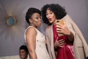 Chimamanda Ngozi Adichie and Tracee Ellis Ross pose backstage at Glamour's 2017 Women of The Year Awards at Kings Theatre on November 13, 2017 in Brooklyn, New York.