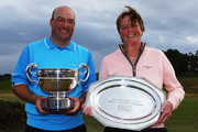 James Lee of Caerphilly and Tracy Loveys of Bigbury GC after winning the Glenmuir PGA Professional Championship at Dundonald Links on June 19, 2009 in Dundonald, Scotland.
