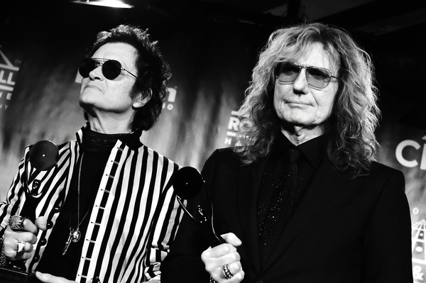 31st Annual Rock and Roll Hall of Fame Induction Ceremony - Press Room [rock and roll hall of fame induction ceremony - press room,eyewear,black-and-white,monochrome,fashion,monochrome photography,photography,sunglasses,glasses,event,vision care,david coverdale,glenn hughes,barclays center,new york city,rock and roll hall of fame induction ceremony,deep purple,l]