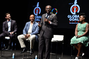 (L-R) Hugh Jackman, Patrice Motsepe, Babajide Sanwo-Olu, and Uzo Aduba speak onstage during Global Citizen Presents Global Goal Live: The Possible Dream at St. Ann's Warehouse on September 26, 2019 in New York City.