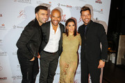 Actor and musician Jencarlos Canela, actor Amaury Nolasco, Eva Longoria, and Ricky Martin attend Global Gift Foundation Dinner at Auberge Residences & Spa sales office on December 3, 2015 in Miami, Florida.