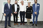 (L-R) David Miliband, International Rescue Committee CEO, Matthew McCarthy, Ben & Jerry's CEO, Sir Richard Branson, Virgin Founder, Halla Tómasdóttir, The B Team CEO and Gideon Maltz, Tent Partnership for Refugees Executive Director, at a Business Refugee Action Network event on September 24, 2019 in New York City. At the event, in the margins of the United Nations General Assembly, more than a dozen CEOs signed up to support refugees and to call on governments to include them in progress towards the Sustainable Development Goals.