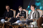 """(L-R) Director Joachim Ronning, actors Sam Riley and Harris Dickinson participate in the global press conference for """"Disney's Maleficent: Mistress of Evil"""" on September 30, 2019 in Beverly Hills, California."""