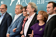 "(L-R) Jean-Pierre Darroussin, Gerard Meylan, Anais Demoustier, Robert Guediguian, Ariane Ascaride and Robinson Stevenin attend ""Gloria Mundi"" photocall during the 76th Venice Film Festival on September 05, 2019 in Venice, Italy."