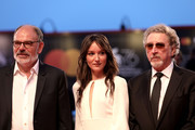 "(L-R) Jean Pierre Darroussin, Anais Demoustier and Robert Guediguian walk the red carpet ahead of the ""Gloria Mundi"" screening during the 76th Venice Film Festival at Sala Grande on September 05, 2019 in Venice, Italy."