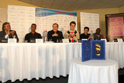 Rabah Madjer, Ruud Gullit, Antonio Caliendo, Giancarlo Bizzio, Luis Figo and  Abedi Pele during the Golden Foot Awards press conference on October 10, 2011 in Monaco, Monaco.