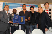 Rabah Madjer, Abedi Pele'  Ruud Gullit, Luis Figo, Antonio Caliendo and Giancarlo Bizzio during the Golden Foot Awards press conference on October 10, 2011 in Monaco, Monaco.
