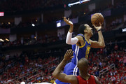 Shaun Livingston #34 of the Golden State Warriors drives past Chris Paul #3 of the Houston Rockets during Game Six of the Western Conference Semifinals of the 2019 NBA Playoffs at Toyota Center on May 10, 2019 in Houston, Texas. NOTE TO USER: User expressly acknowledges and agrees that, by downloading and or using this photograph, User is consenting to the terms and conditions of the Getty Images License Agreement.