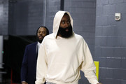 James Harden #13 of the Houston Rockets  arrives for  Game Six of the Western Conference Semifinals of the 2019 NBA Playoffs at Toyota Center on May 10, 2019 in Houston, Texas. NOTE TO USER: User expressly acknowledges and agrees that, by downloading and or using this photograph, User is consenting to the terms and conditions of the Getty Images License Agreement.