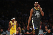 Kevin Durant #35 of the Golden State Warriors reacts after a three pointer by Rajon Rondo #9 of the Los Angeles Lakers during the first half at Staples Center on April 04, 2019 in Los Angeles, California. NOTE TO USER: User expressly acknowledges and agrees that, by downloading and or using this photograph, User is consenting to the terms and conditions of the Getty Images License Agreement.