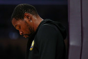 Kevin Durant #35 of the Golden State Warriors reacts during a timeout in the first half against the Los Angeles Lakers at Staples Center on April 04, 2019 in Los Angeles, California. NOTE TO USER: User expressly acknowledges and agrees that, by downloading and or using this photograph, User is consenting to the terms and conditions of the Getty Images License Agreement.