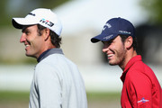 Renato Paratore and Edoardo Molinari of italy share a joke during the Pro Am event prior to the start of GolfSixes at The Centurion Club on May 4, 2018 in St Albans, England.