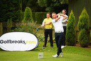 James Wright of Market Drayton Golf Club plays his first shot on the 1st tee during the Golfbreaks.com PGA Fourball Championship Midland Qualifier at The Staffordshire Golf Club on July 4, 2017 in Stafford, England.