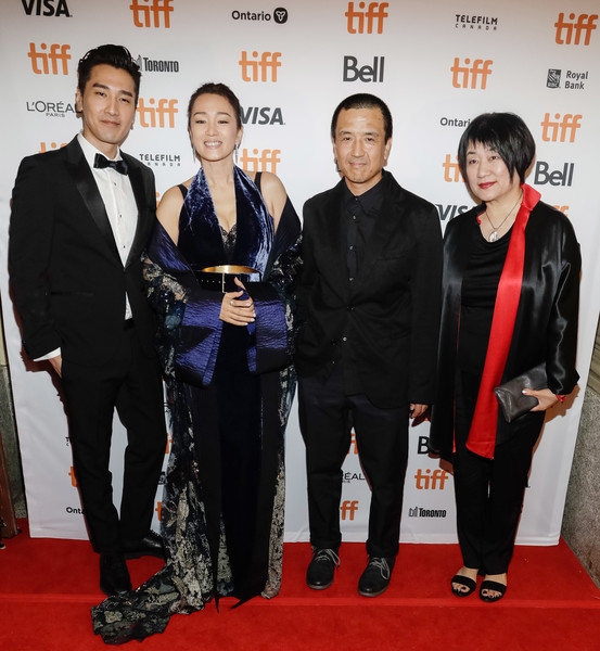 2019 Toronto International Film Festival - 'Saturday Fiction' Premiere [saturday fiction,red carpet,carpet,event,suit,premiere,flooring,tuxedo,formal wear,lou ye,mark chao,gong li,l-r,winter garden theatre,toronto,ma yingli,toronto international film festival,premiere]