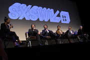 "(L-R) Actress Aisha Tyler moderates a Q&A with writer and executive producer Neil Gaiman, actors David Tennant and Jon Hamm, and director Douglas Mackinnon following the premiere the Good ""Omens: The Nice and Accurate"" SXSW Event during the 2019 SXSW Conference and Festivals at ZACH Theatre on March 09, 2019 in Austin, Texas."